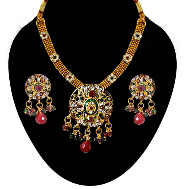 Ethnic Round Shaped Red, Green & White Stones & Gold Plated Pendants Necklace & Earrings Set with Enamel