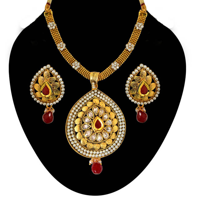 Ethnic Pear Shaped Red & White Stones, Shell Pearl & Gold Plated Pendants Necklace & Earrings Set