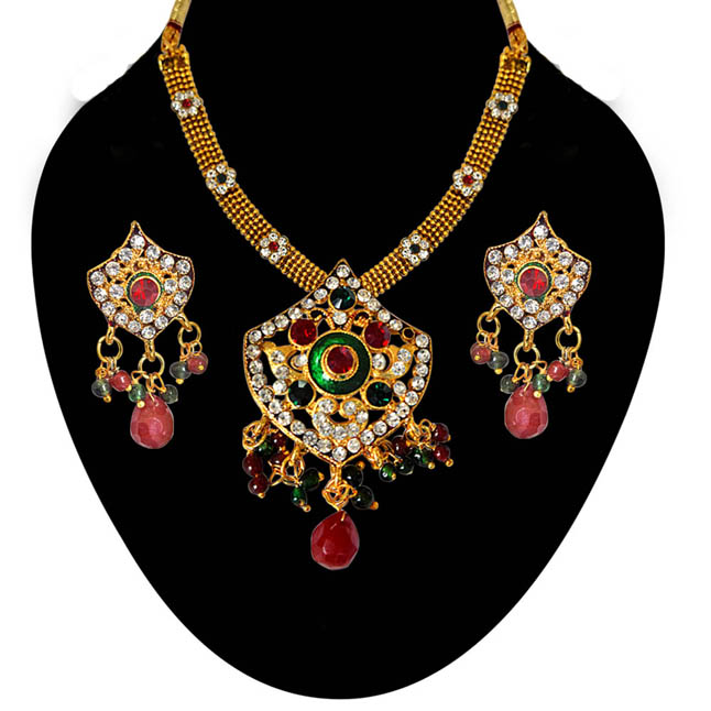 Ethnic Red, Green & White Stones & Gold Plated Pendants Necklace & Earrings Set with Enamel