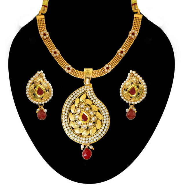 Ethnic Indian Motif Red & White Stones, Shell Pearl & Gold Plated Pendants Necklace & Earrings Set