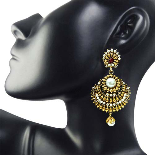 Ethnic Red, Green & White Stone & Gold Plated Hanging Earrings for Women