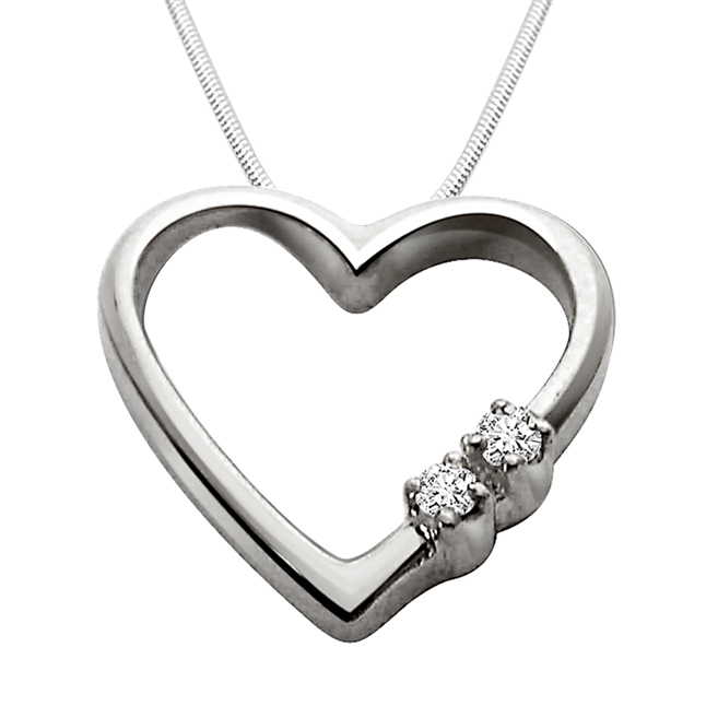 "Express your Love -Real Diamond & Sterling Silver Pendants with 18"" Chain"