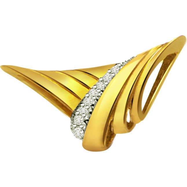 Eye Catchy 0.08ct Diamond Gold Pendants -Designer Pendants