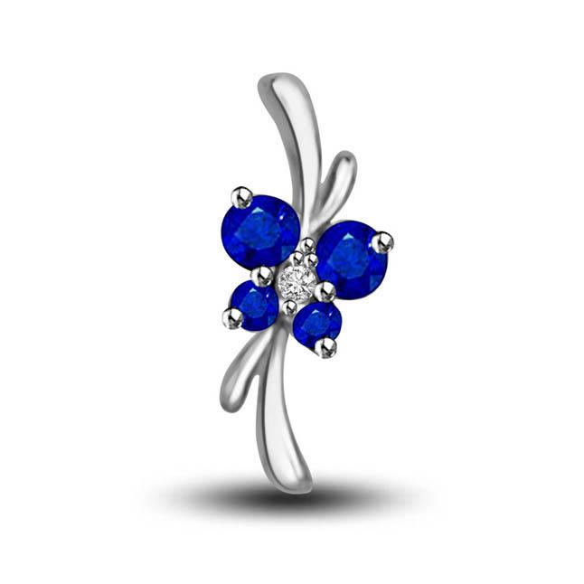 Fabulous Bond Diamond & Blue Sapphire Flower Set In 14kt White Gold Pendants For Your Love