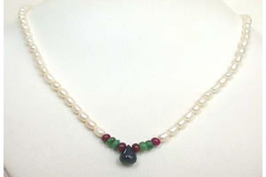 Faceted Drop Ruby, Oval Emerald & Rice Pearl Necklace