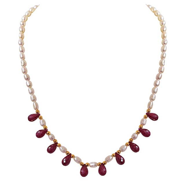 Faceted Drop Ruby, Rice Pearl & Gold Plated Beads Necklace & Earrings Set -Pearl Set