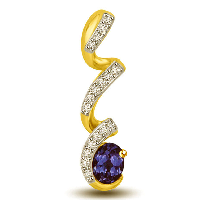 Falling Diamond & Oval Sapphire Two Tone Gold Pendants
