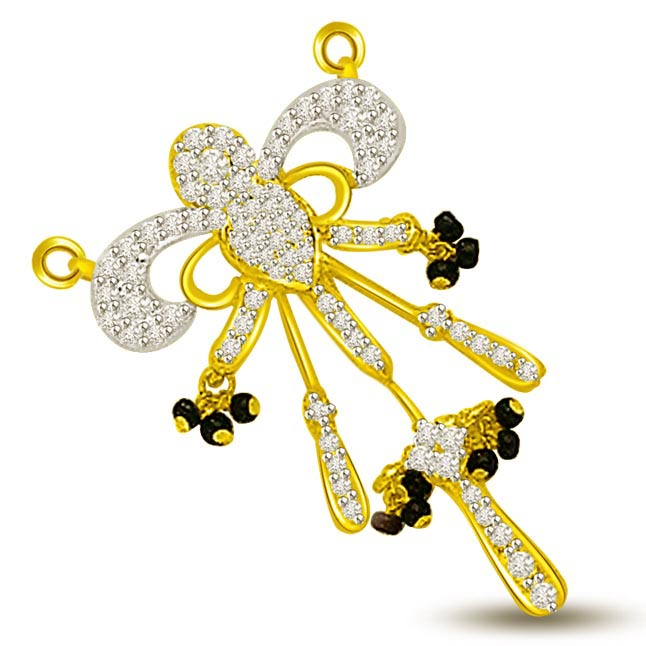 Falling In Love Diamond & Gold Mangalsutra Pendants