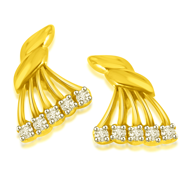 Fancy Fan Gold Diamond Earrings -Designer Earrings