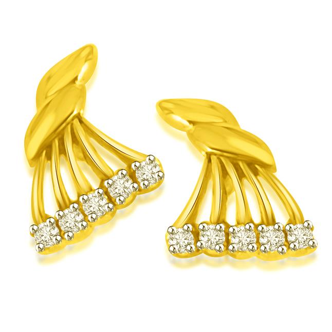 Fancy Fan Gold Diamond Earrings -Designer Earrings