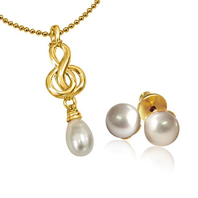 Fancy Freshwater Pearl & Gold Plated Pendants with Chain & matching Studs -Pearl Set