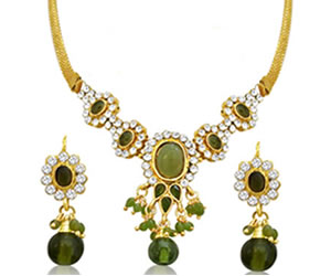 Fancy Green & White Stone Set with Rajasthani Kadas