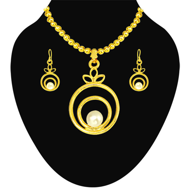Fancy Round Shape Button Pearl & Gold Plated Pendant with chain & Earring Set for Women (SDS145)