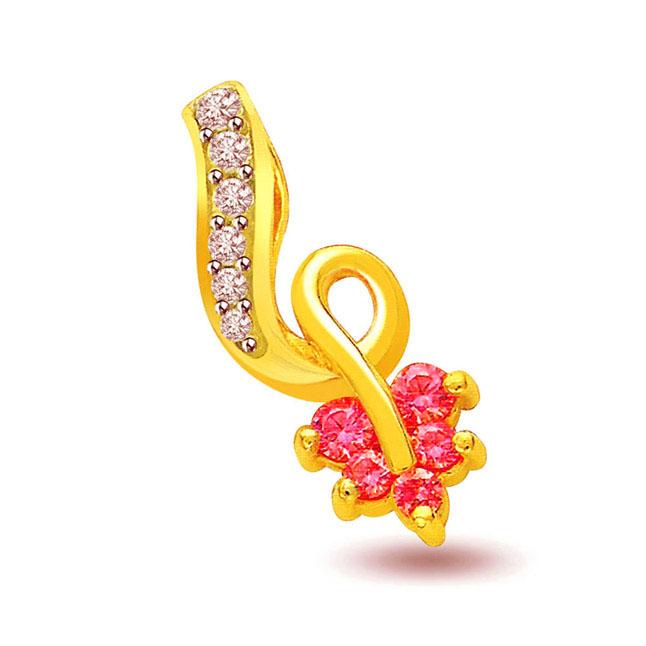 Fancy Pink Flower Diamond Pendants -Flower Shape Pendants