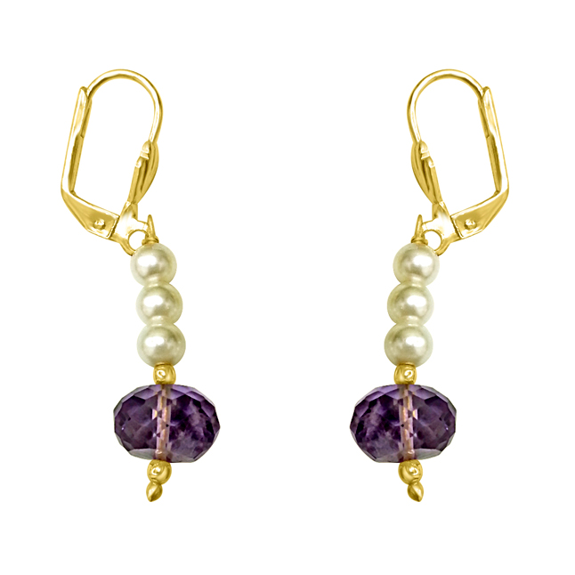 Fancy Purple Amethyst & Shell Pearl Hanging Earrings.