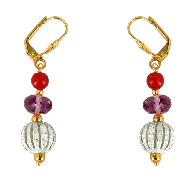 Fancy Purple Amethyst, Silver Plated Ball & Red Beads Earrings.
