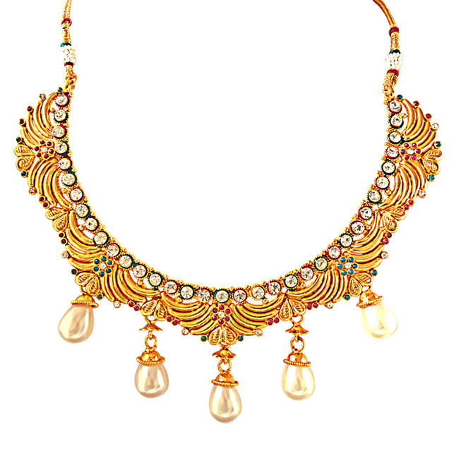 Fancy Red, Green & White Stones, Shell Pearls & Gold Plated Necklace Earrings & Manga Tikka Ethnic Fashion Jewellery Set
