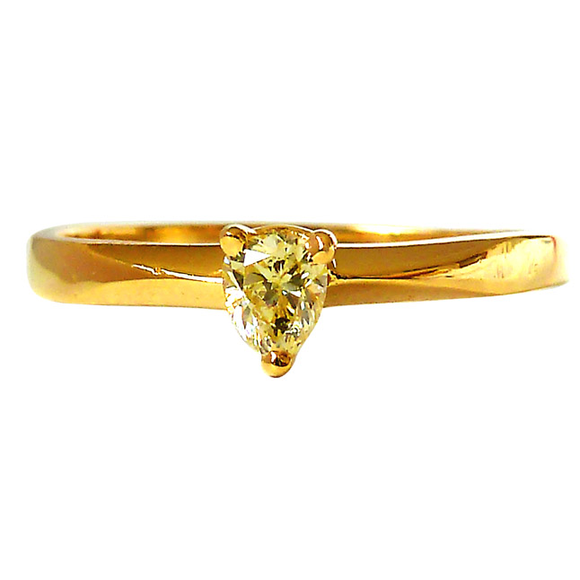 0.14ct Pear Cert Fancy Yellow Colour Diamond Solitaire Engagement rings