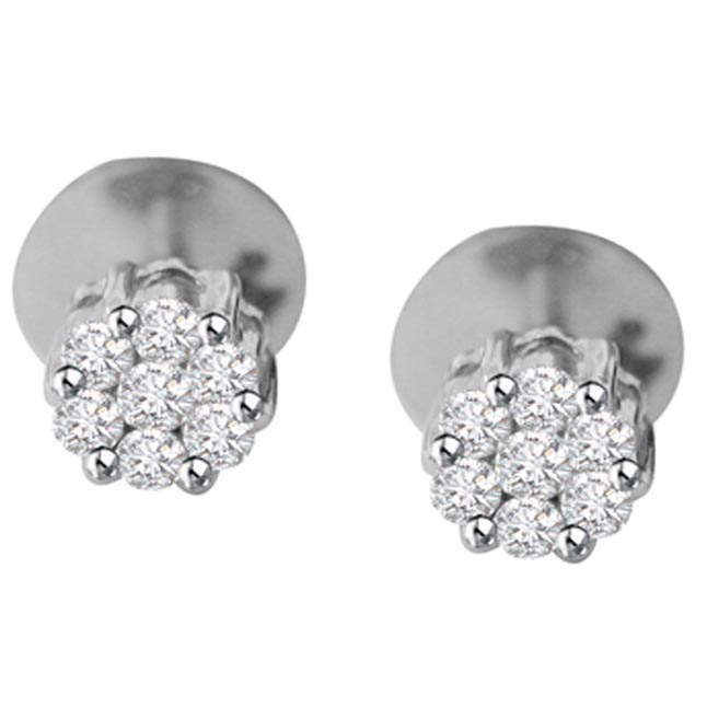 Fantastic Female Diamond Earrings -White Rhodium