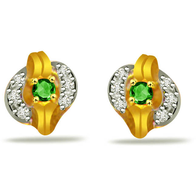 Fantastic Female Diamond & Emerald Earrings -Designer Earrings