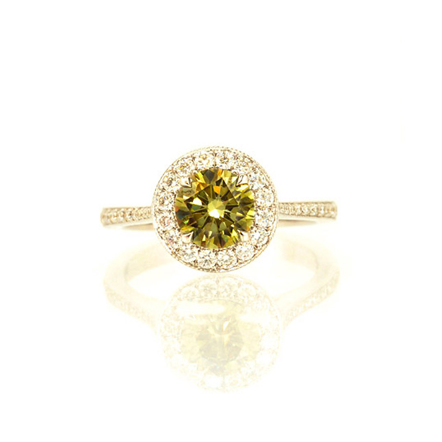 Glitter Green Passion 0.23ct TCW Yellow Fancy Colour Diamond Solitaire rings -White Gold Big Sol