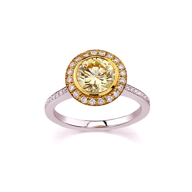 Precious Flower 0.35ct Greenish Yellow Fancy Colour Diamond Solitaire rings -18k Engagement rings