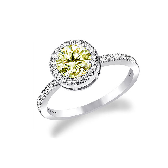 0.34ct TCW Dark Yellow Fancy Colour Diamond Solitaire rings -White Gold Big Sol