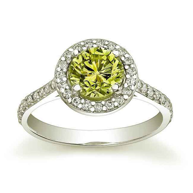 0.37ct TCW Greenish Yellow Fancy Colour Diamond Solitaire rings -White Gold Big Sol