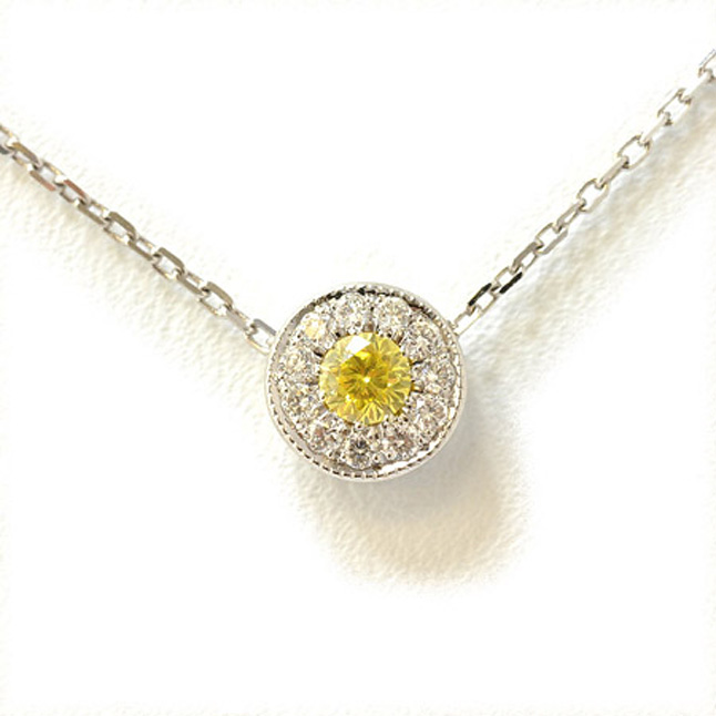 0.35ct TCW Center Yellow Diamond 14kt WG Fancy Pendants & Chain -Solitaire