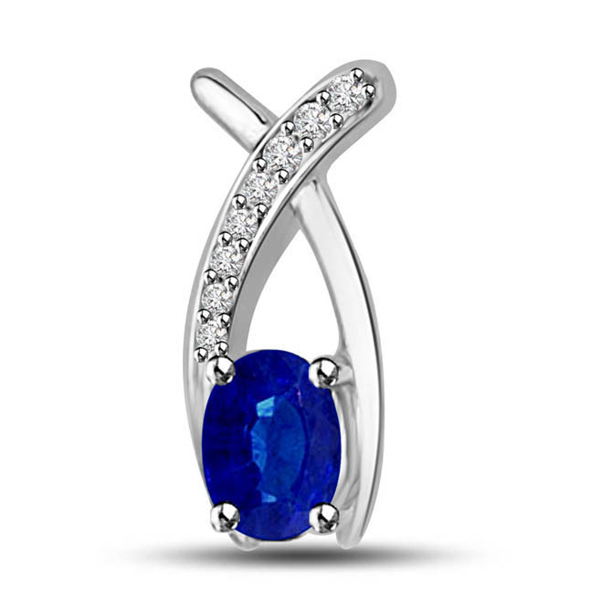 Feathers Of Love:Blue Sapphire & Diamond Pendants In White Gold