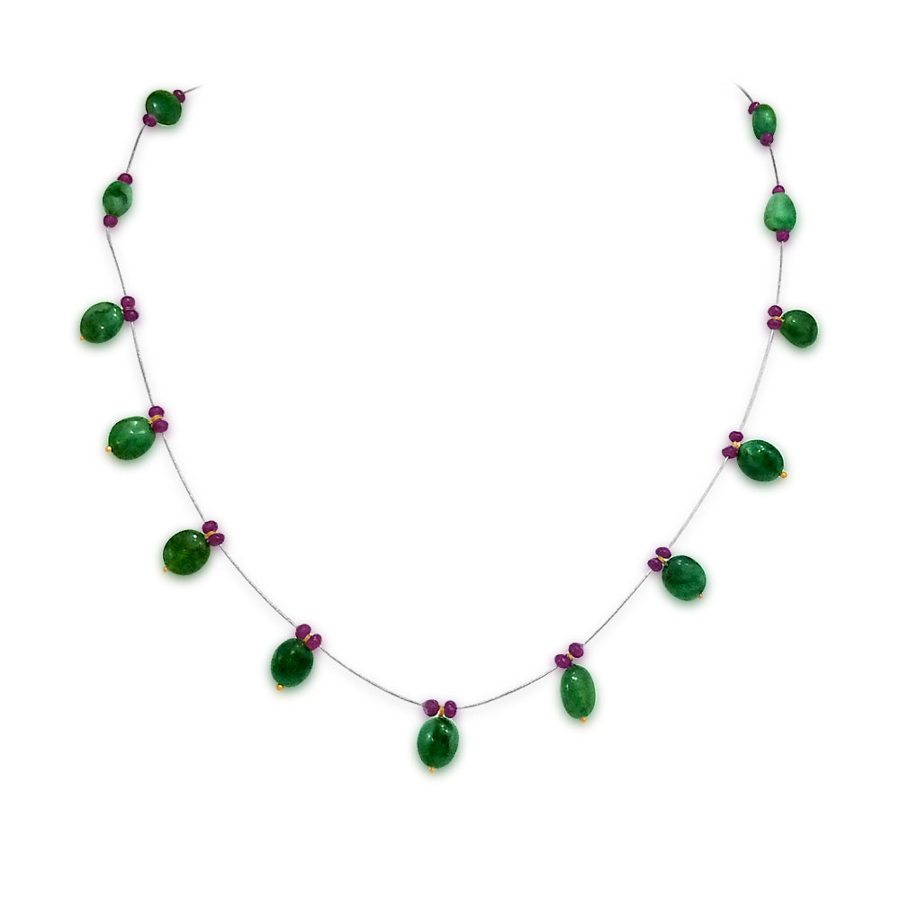 Feminine Charms - Single Line Real Oval Emerald & Ruby beads Necklace for Women (SN139)