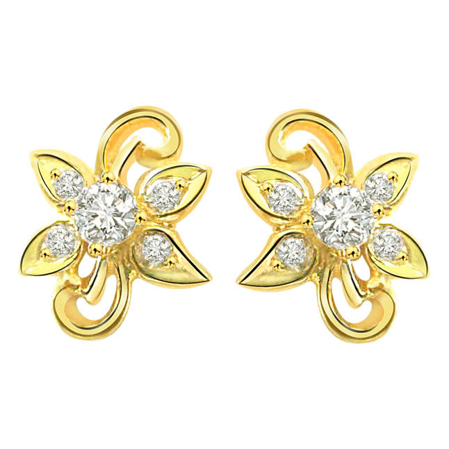 Feminine Flower Diamond Earrings S -274 -Flower Shape Earrings