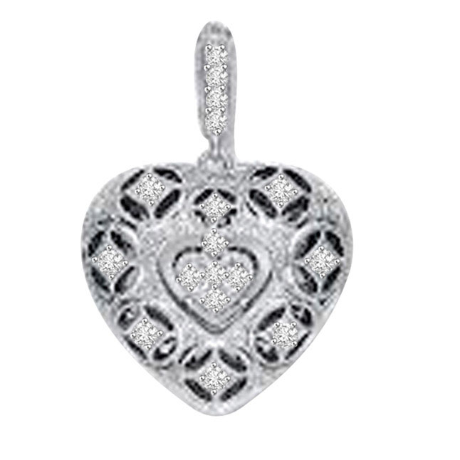 Fillgree Style White Gold 14kt Diamond Heart Pendants