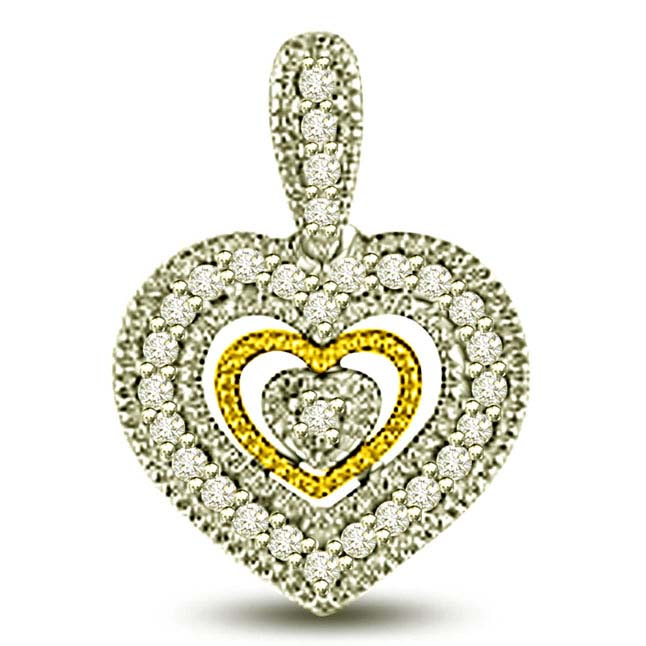 Fillgree Style Two Tone Diaimond Heart Love Pendants