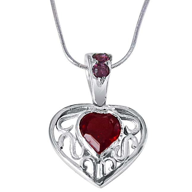"Final Destination of Life Garnet, Rhodolite & 925 Sterling Silver Pendants with 18"" Chain"