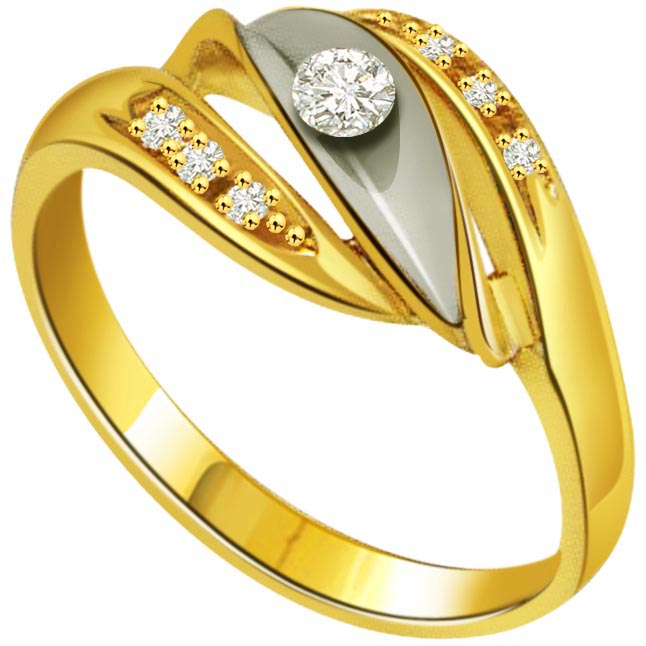 Fine 0.24 ct Diamond Two Tone rings -Designer