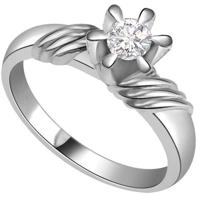 Fine 0.35 ct Diamond Flower Shape rings -White Gold Big Sol