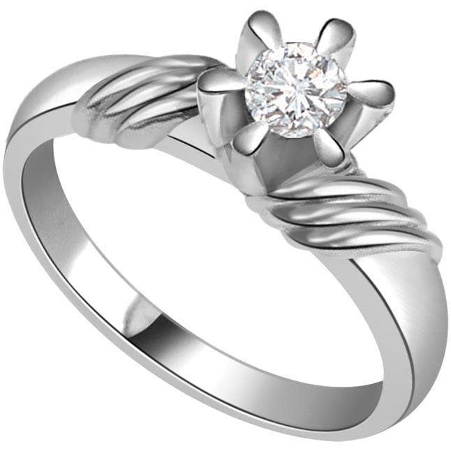 Fine 0.35 ct Diamond Flower Shape rings -White Gold Big Sol