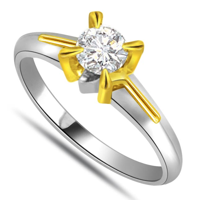 Fine Diamond 1.00 ct Two Tone Solitaire rings -White Gold Big Sol