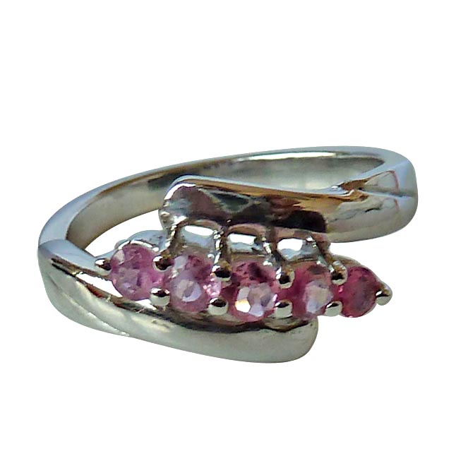 Fine Round Beautiful Pink Tourmaline set in Sterling Silver gemstone engagement rings