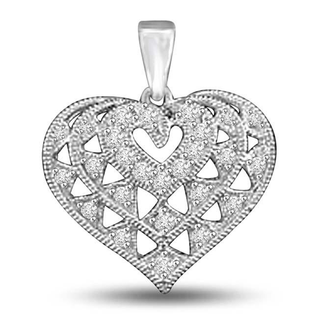 Fine White Gold Engraved Diamond Heart Pendants for Her