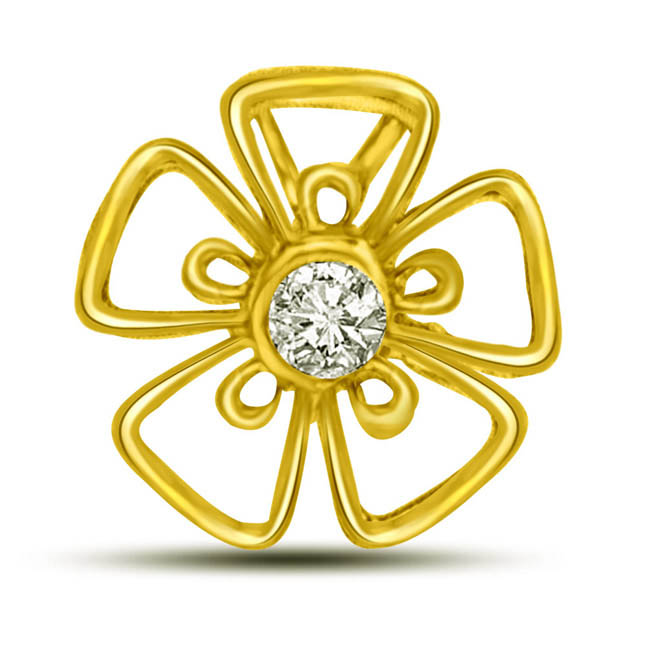 Five Petal Solitaire Diamond Pendants in 18kt yellow gold -Flower Shape Pendants