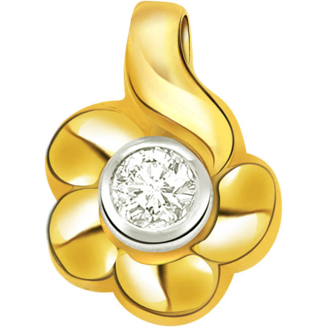 Flora Ultima Flower Shape Diamond Sol Pendants -Solitaire