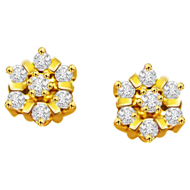 Floral Grace ER -78 -Flower Shape Earrings