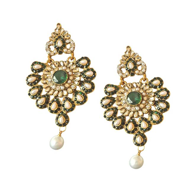 Floral Designed Green & White Stones, Shell Pearl & Gold Plated Ch Bali Earrings