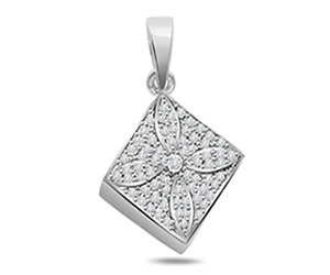 Floral Diamond -0.30 cts Diamond Pendants -White Gold