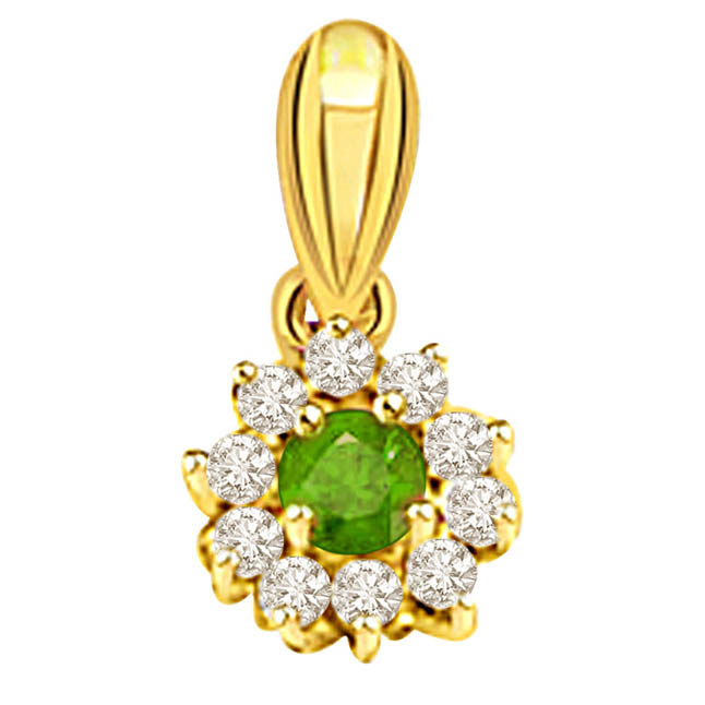 Floral Emerald Delight -Diamond Emerald Pendants