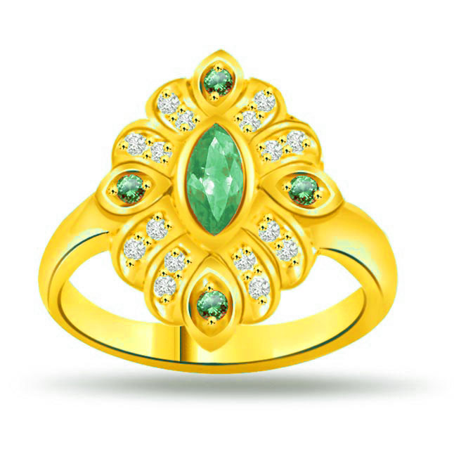 Floral Emerald Classic Diamond & Emerald rings SDR1120 -Diamond & Emerald
