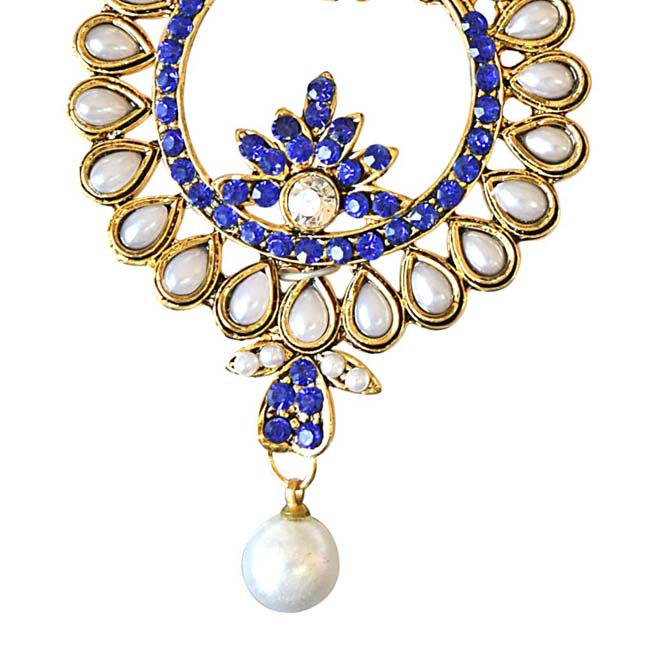 Floral Shaped Blue Coloured Stone, Shell Pearl & Gold Plated Ch Bali Earrings