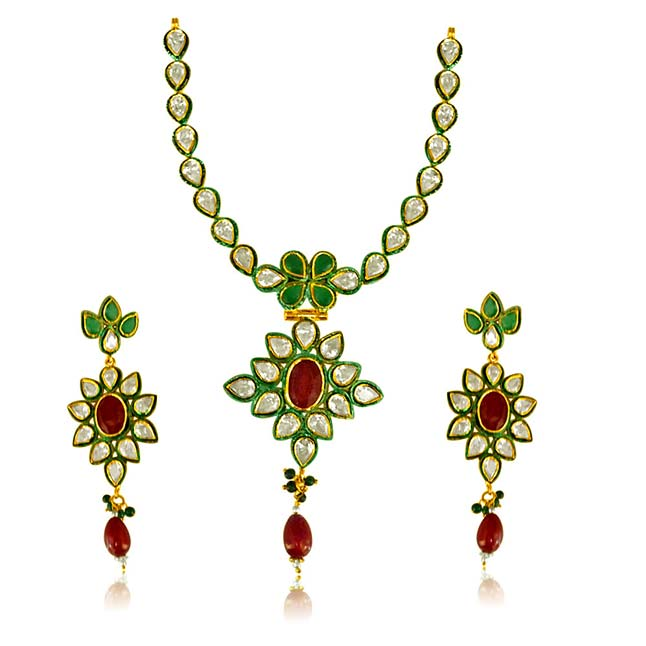 Floral Jodha Akbar Necklace Set.